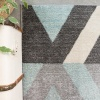 Blue Grey Modern Geometric Living Room Runner Rug - Vivid