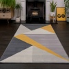 Geometric Yellow and Grey Rug - Milan