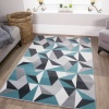 Geometric Blue and Grey Rug - Milan