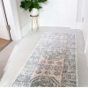 Blush Pink Vintage Distressed Flat Low Pile Hall Runner Rug - Abella