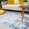 Modern Blue Abstract Distressed Runner Rug - Enzo