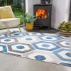 Blue Geometric Honeycomb Living Room Rug - Enzo