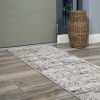 Modern Abstract Distressed Hall Runner Rugs in Gold Grey - Hatton