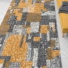 Retro Yellow Mottled Shaggy Hall Runner Rug - Murano