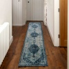 Faded Distressed Navy Blue Oriental Pattern Rug - Oscar