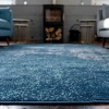Distressed Navy Bohemian Soft Living Room Rug - Oscar
