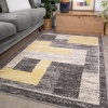 Grey Yellow Blocks Modern Living Room Rug - Vivid