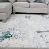Modern Aqua Blue Abstract Distressed Living Room Rugs - Hatton