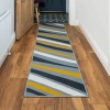 Yellow Grey Swirl Pattern Living Room Rug - Milan