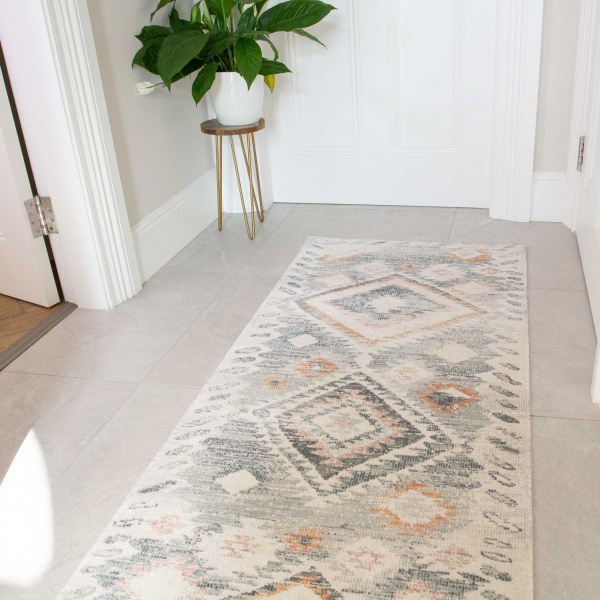 Terracotta Tribal Distressed Flat Low Pile Hall Runner Rug - Abella