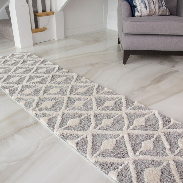 Scandi Grey Cream Runner Rug - Ashbee