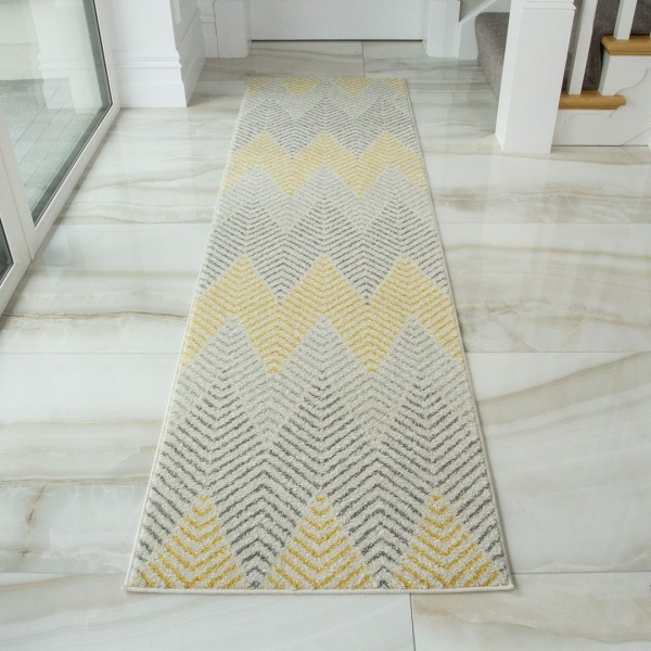 Yellow Grey Herringbone Runner Rug - Bombay