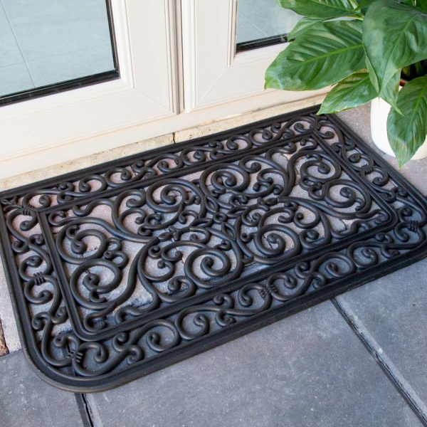 Curved Ornate Iron Black Rubber Outdoor Entrance Doormat - Rubber Mat