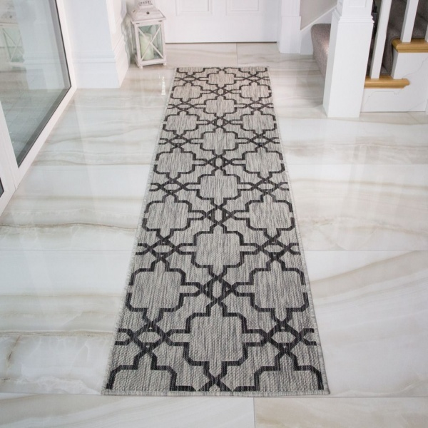 Grey Flatweave Outdoor Runner Rug - Habitat