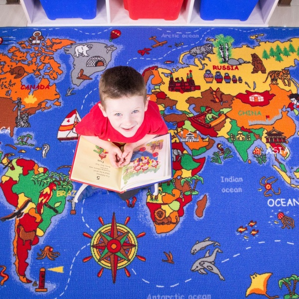 Kids Educational World Map Rug