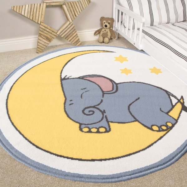 Elephant Kids Nursery Bedroom Rug - Milan
