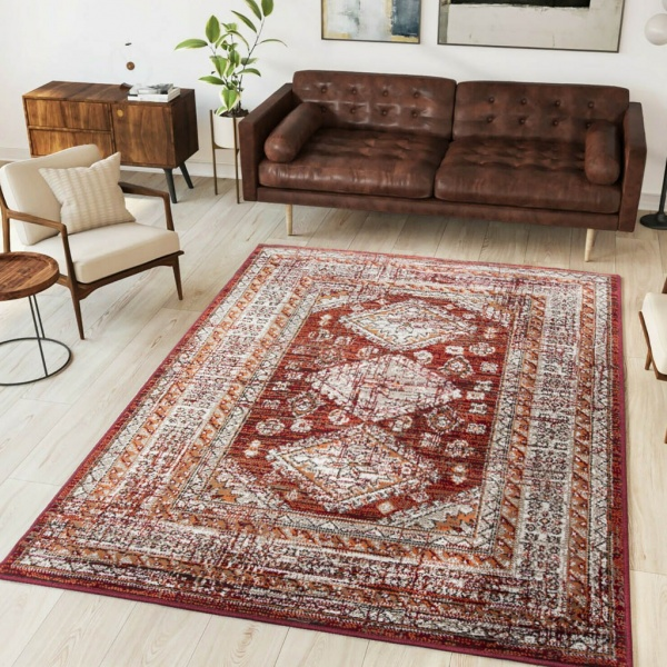 Red Traditional Kilim Living Room Rugs - Milan