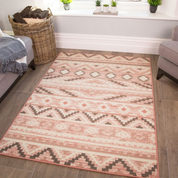 Pink Aztec Kids Bedroom Rug - Milan Junior