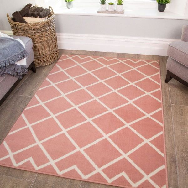 Pink Trellis Kids Bedroom Rug - Milan Junior