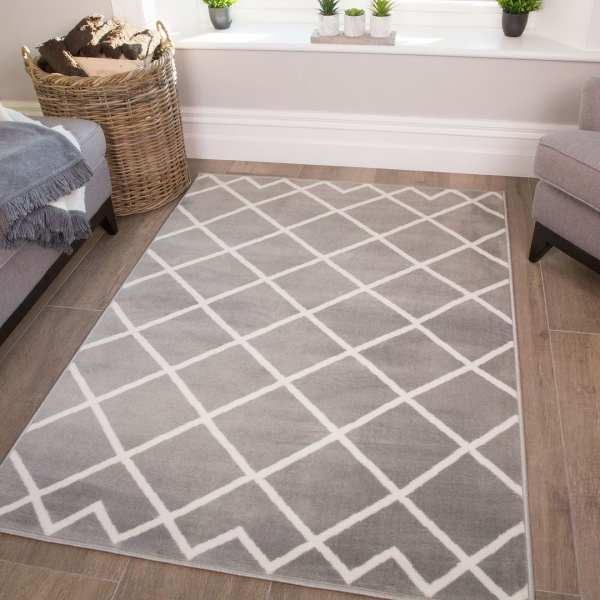 Grey Trellis Kids Bedroom Rug - Milan Junior
