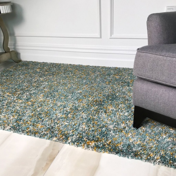 Duck Egg Blue Living Room Shaggy Rug - Murano