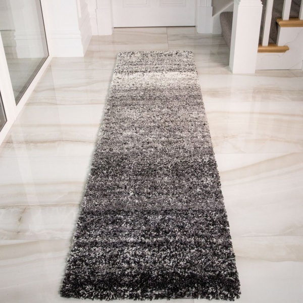 Black Stripe Shaggy Runner Rug - Murano