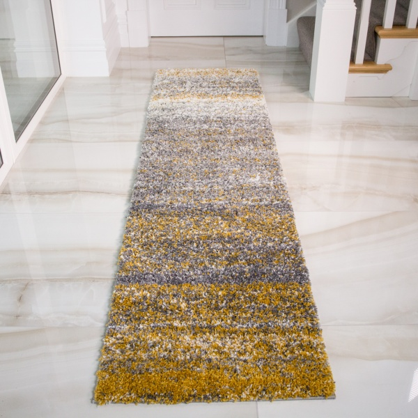 Ochre Striped Shaggy Runner Rug - Murano