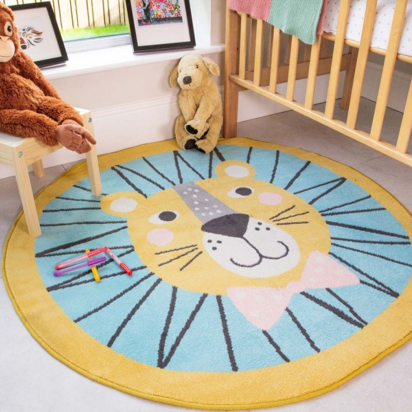 Circle Lion Face Soft Round Kids Bedroom Rugs  - Nino