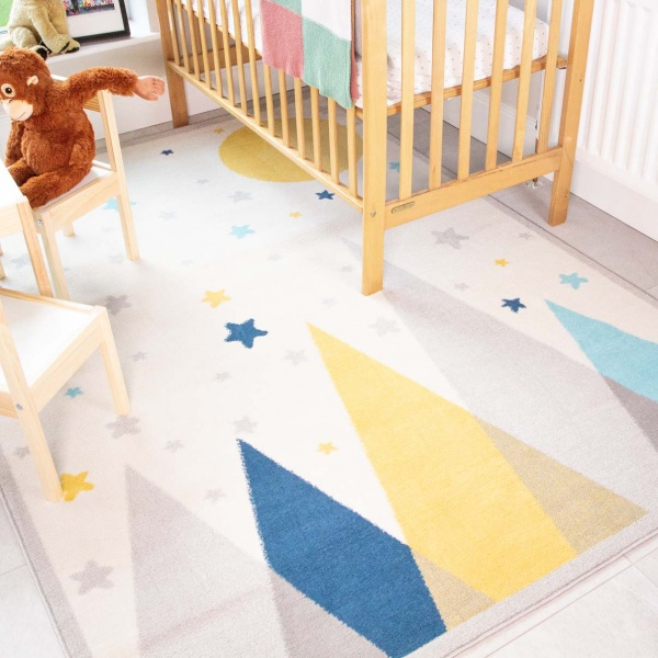 Scandi Mountain Motif Soft Kids Bedroom Rugs  - Nino