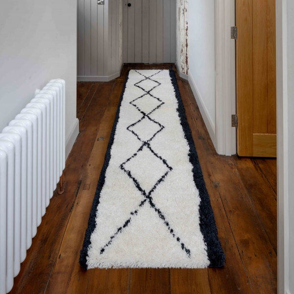 Soft Berber Moroccan Geometric Shaggy Hall Runner Rugs - Nivala