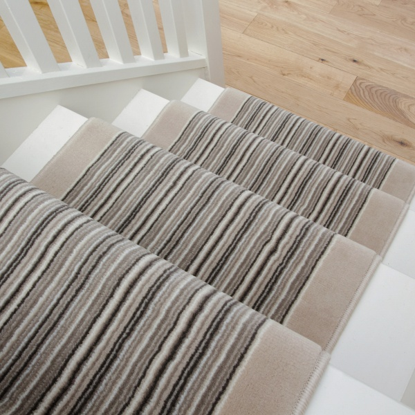 Cream Beige Stripey Stair Carpet Runner - Cut to Measure