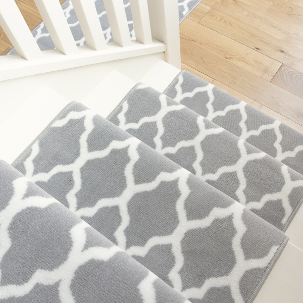 Modern Grey Trellis Stair Carpet Runner - Cut to Measure