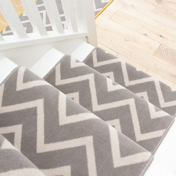 Grey Chevron Stair Carpet Runner - Cut to Measure
