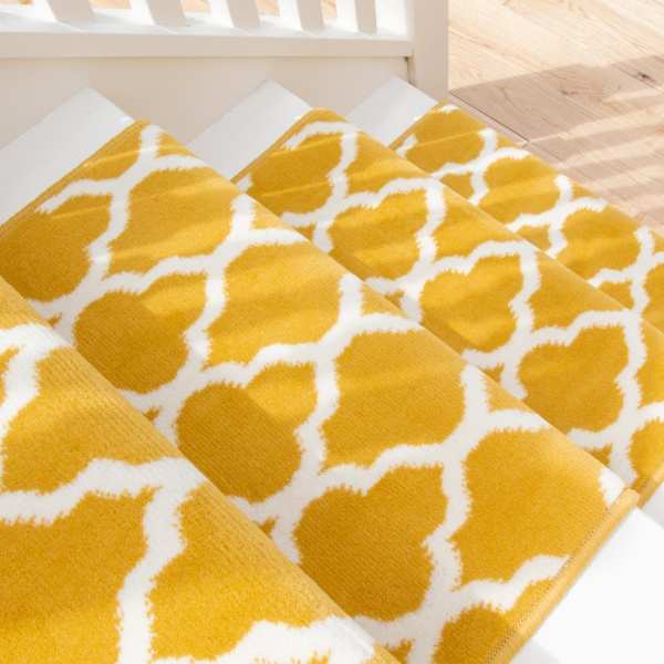Yellow Trellis Stair Carpet Runner - Cut to Measure