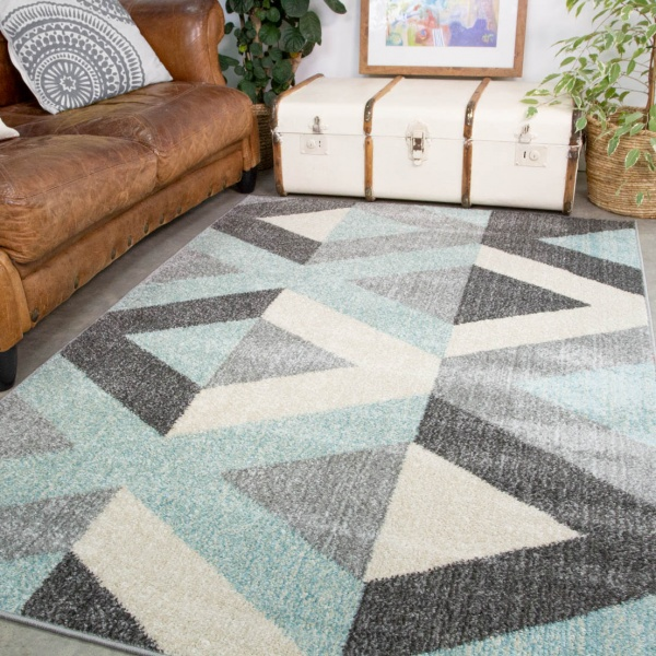 Blue Grey Modern Geometric Living Room Rug - Vivid