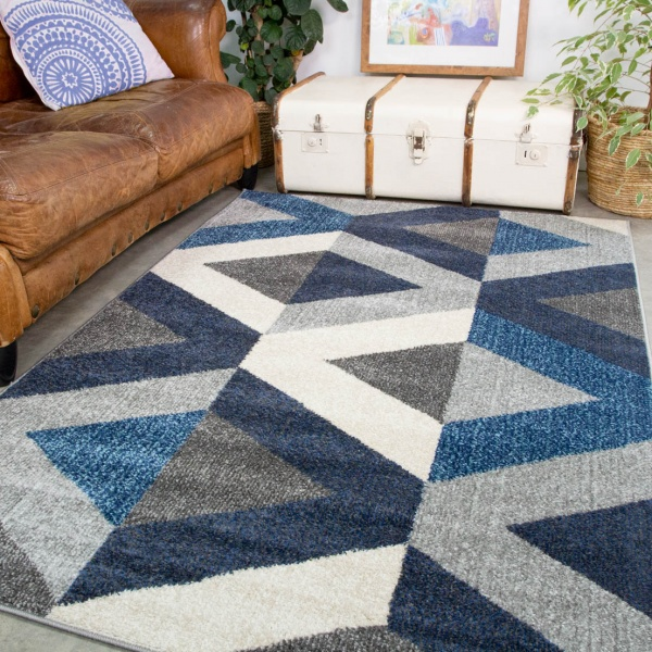 Navy Grey Modern Geometric Living Room Rug - Vivid