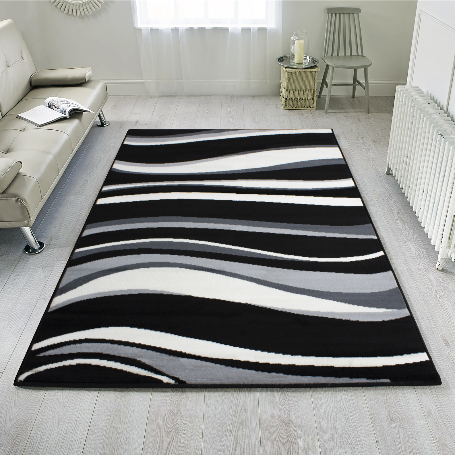 Black Grey Waves Modern Living Room Rug - Milan