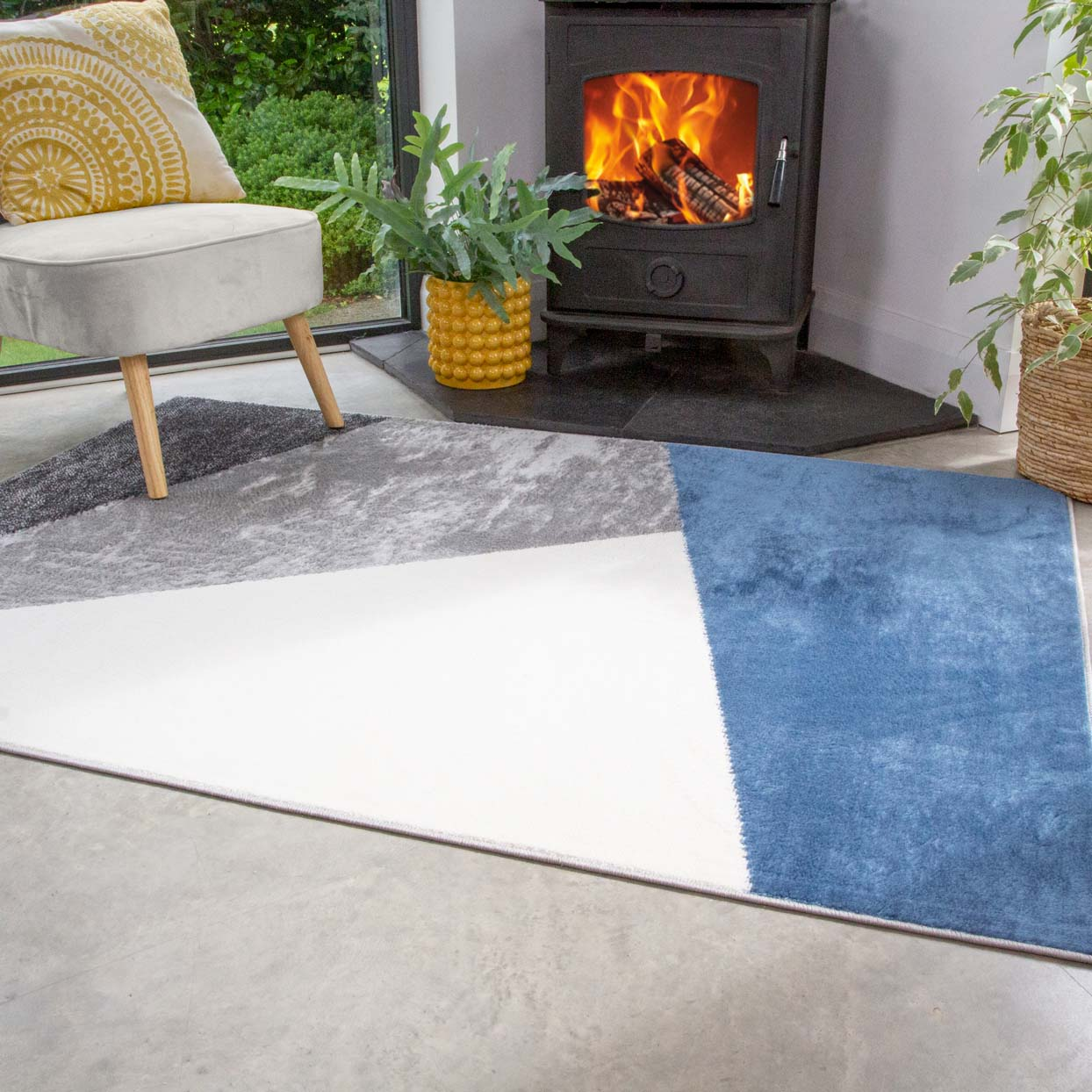 Blue Abstract Geometric Living Room Rug - Enzo