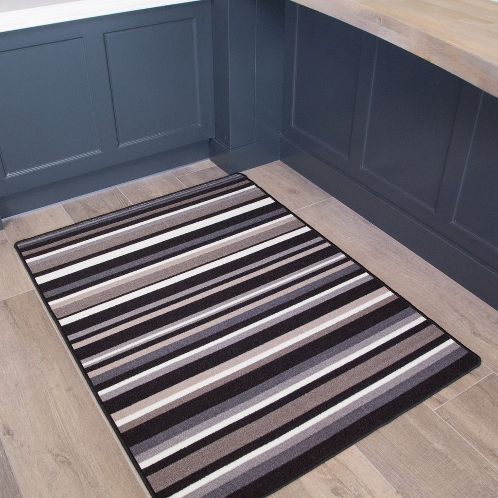 Black Stripe Washable Rug