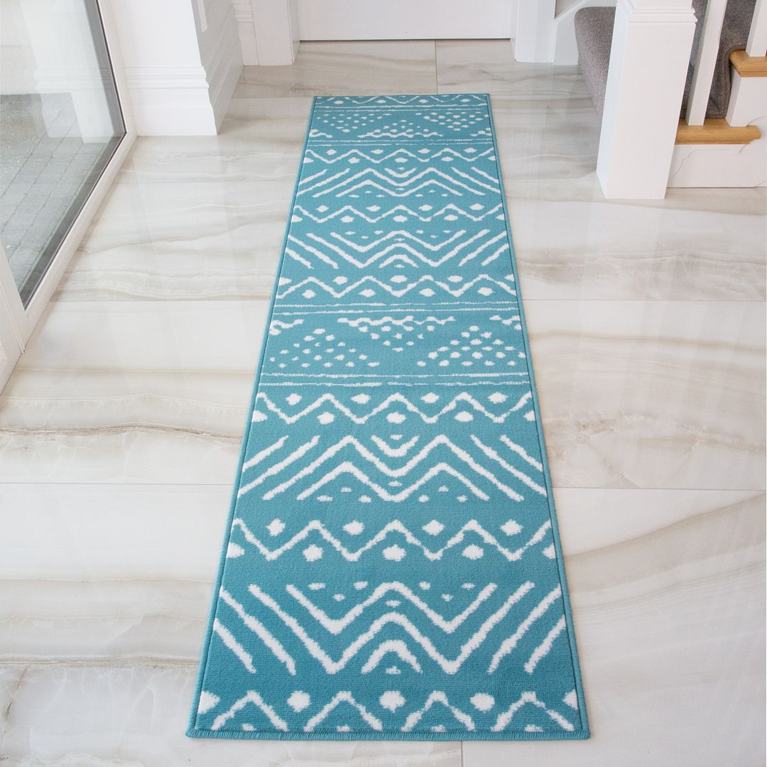 Tribal Teal Blue Aztec Hallway Runner Rug - Soho