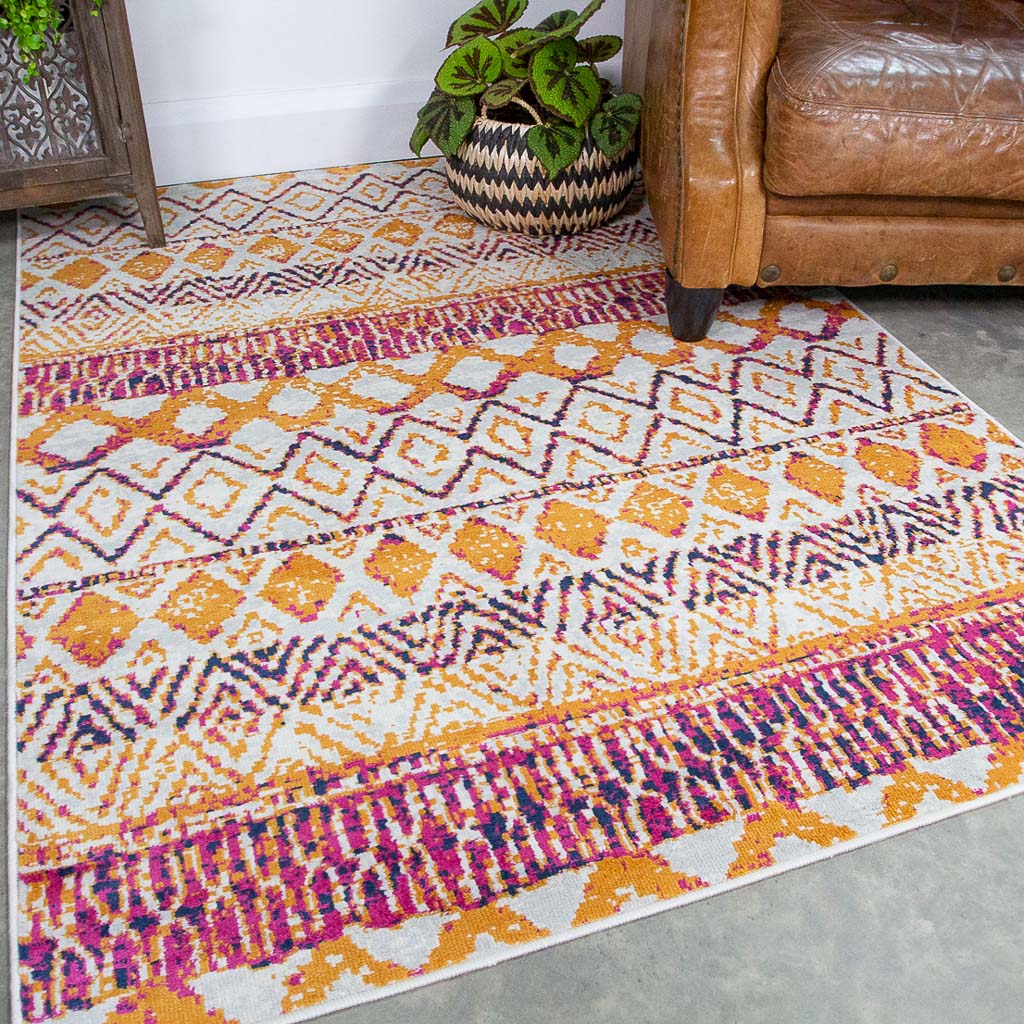 Faded Distressed Colourful Aztec Pattern Rug - Oscar