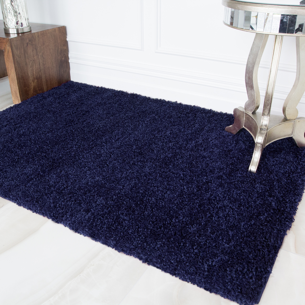 Navy Blue Shaggy Rug - Vancouver