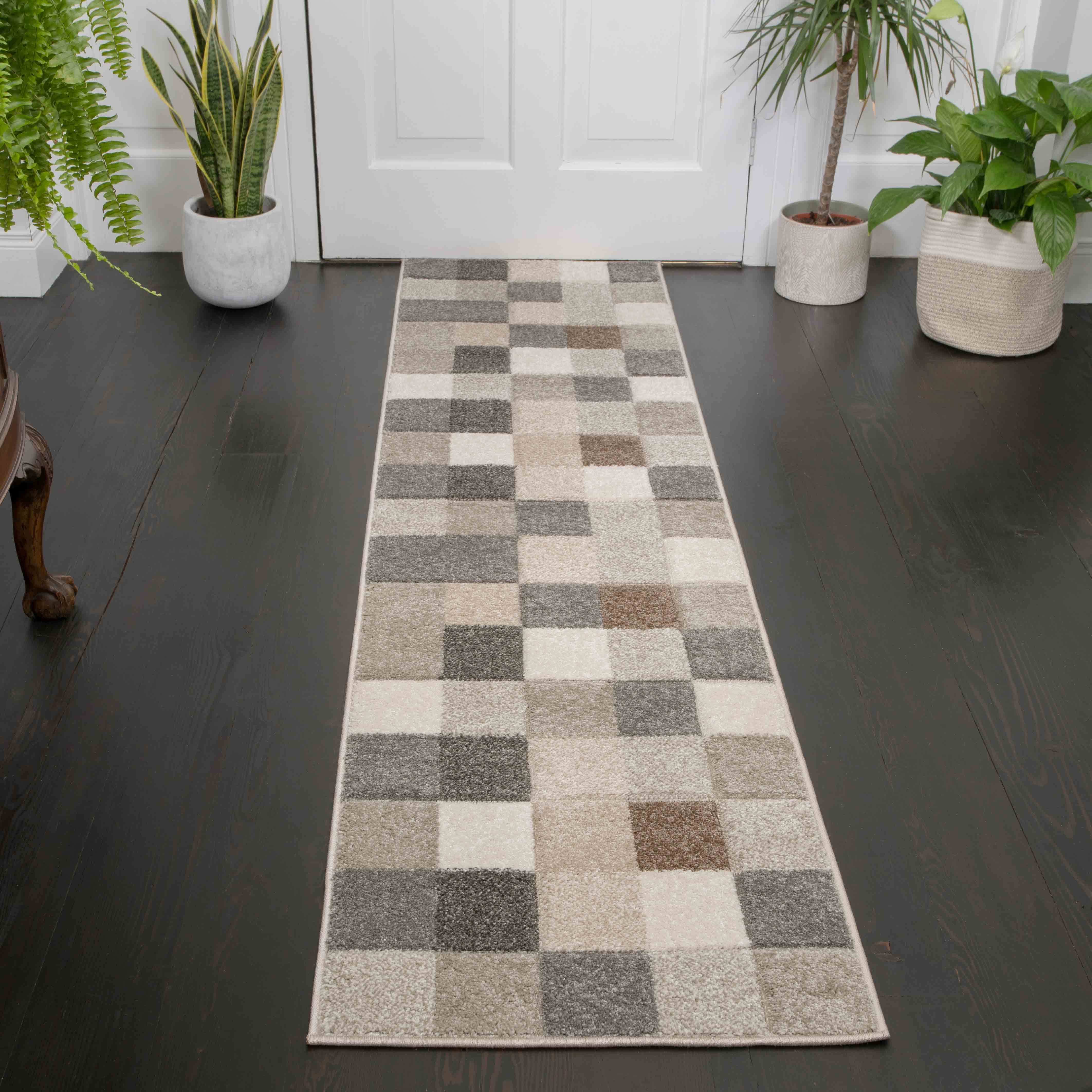 Soft Moroccan Block Squares Natural Beige Hall Runner Rugs - Westland