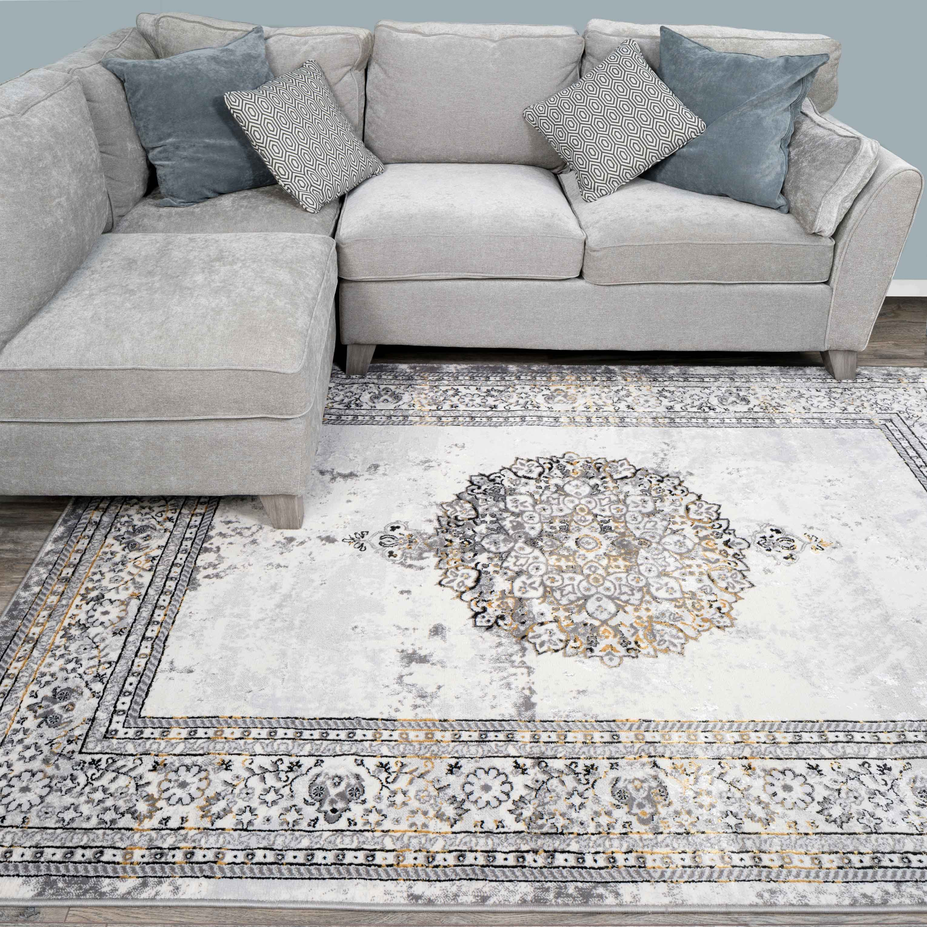 Gold Traditional Distressed Large Dining Table Rugs - Hatton