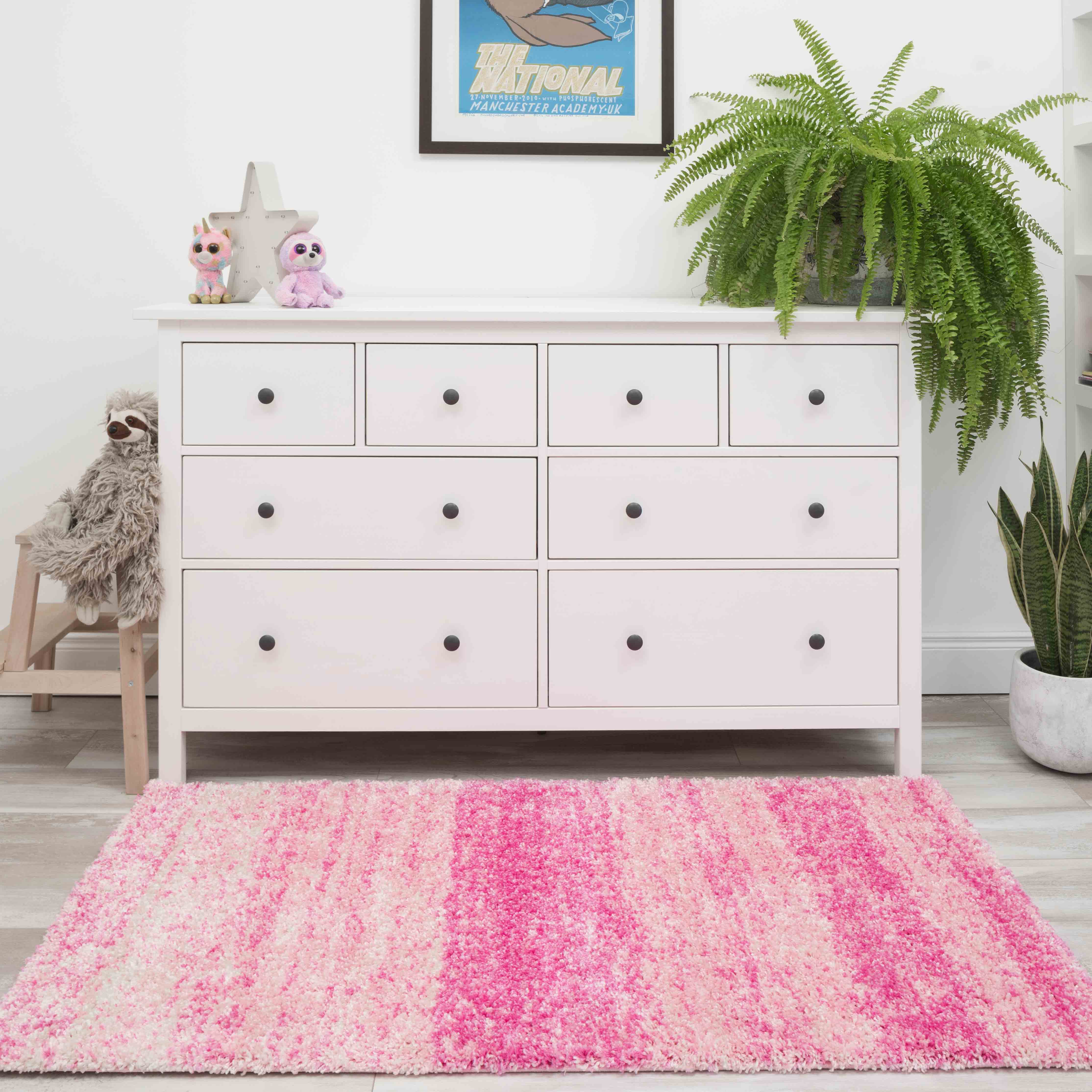 Baby Pink Mottled Striped Shaggy Living Room Rug - Murano