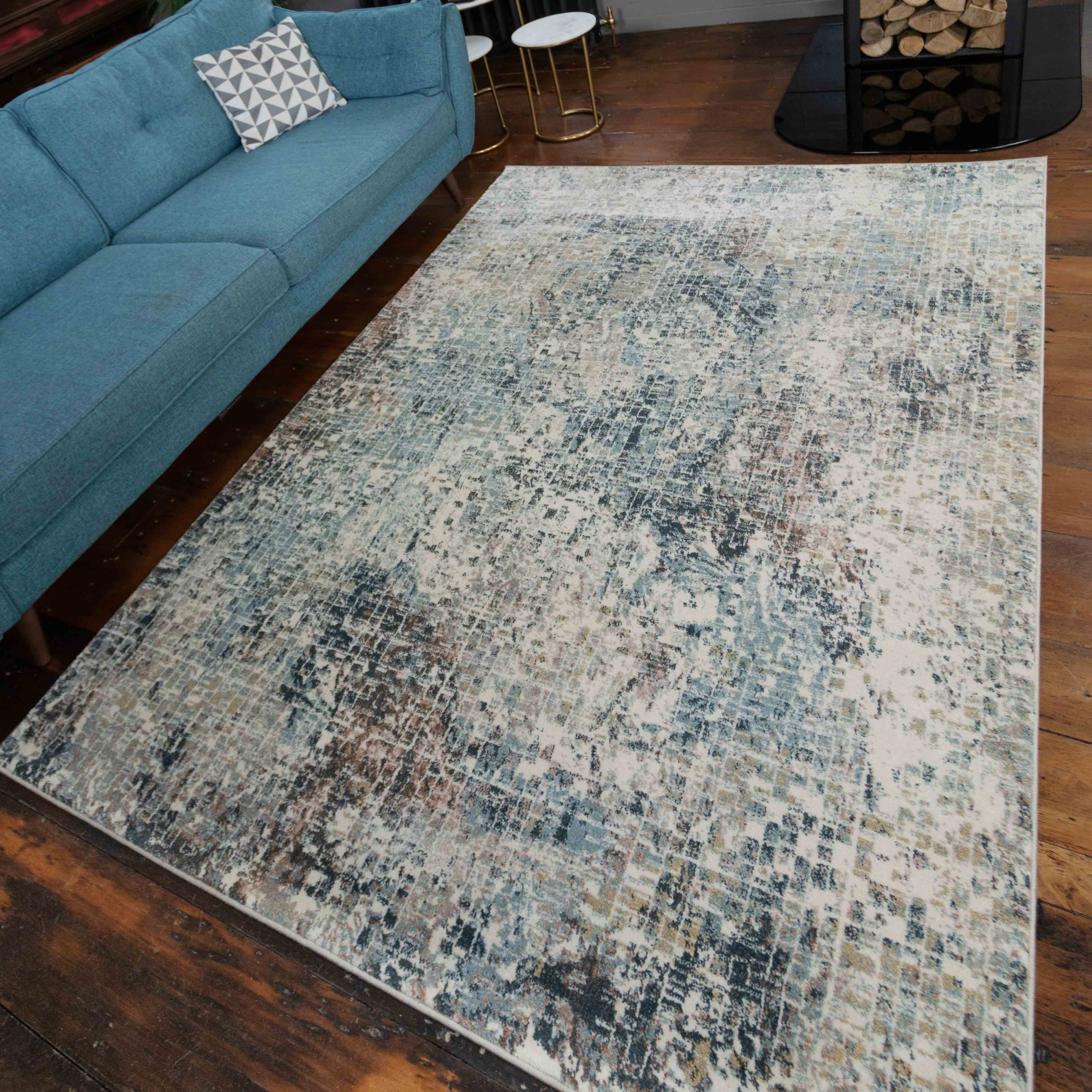 Soft Modern Blue Distressed Abstract Bedroom Rugs - Riviera