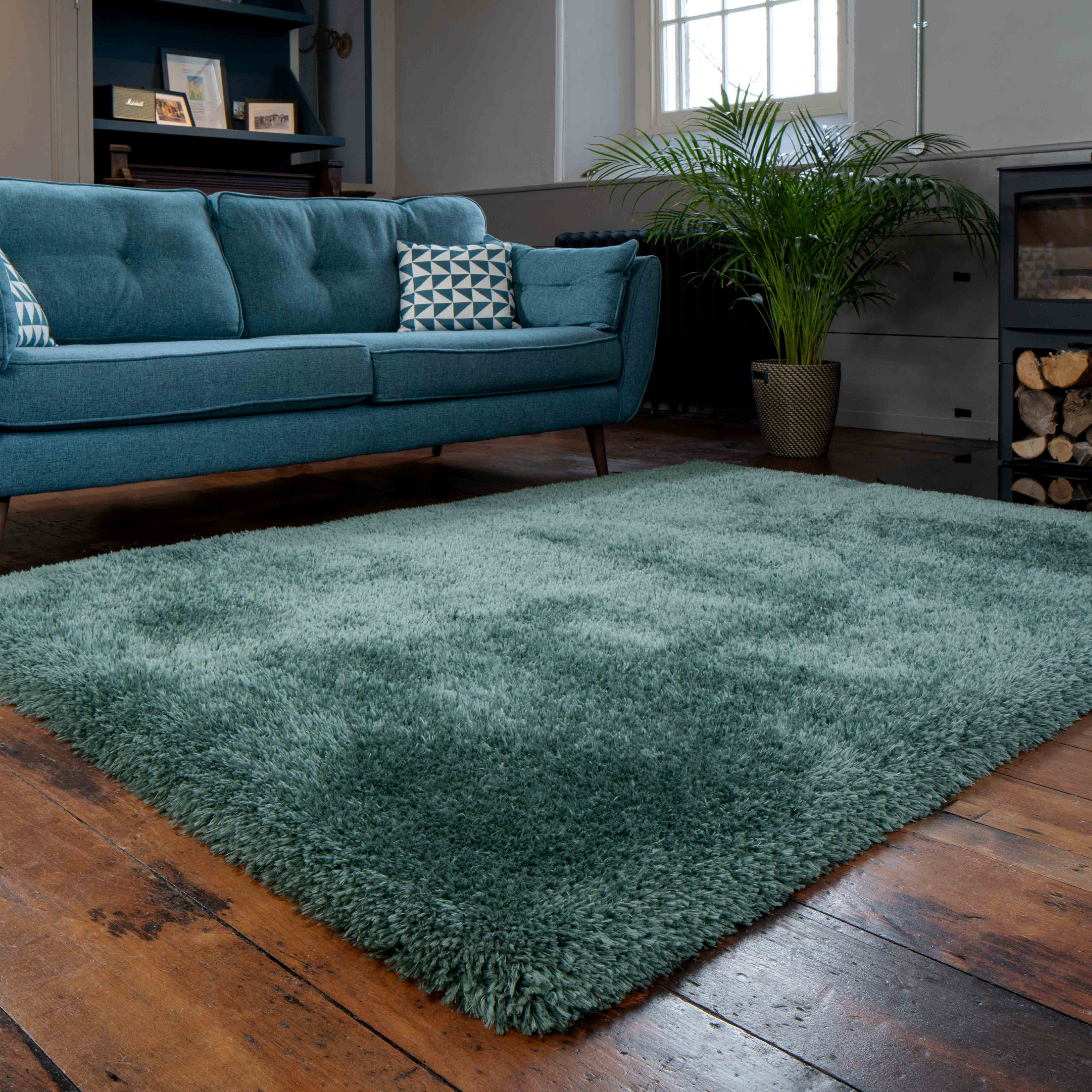 Deluxe Thick Soft Green Shaggy Living Room Rug - Whistler