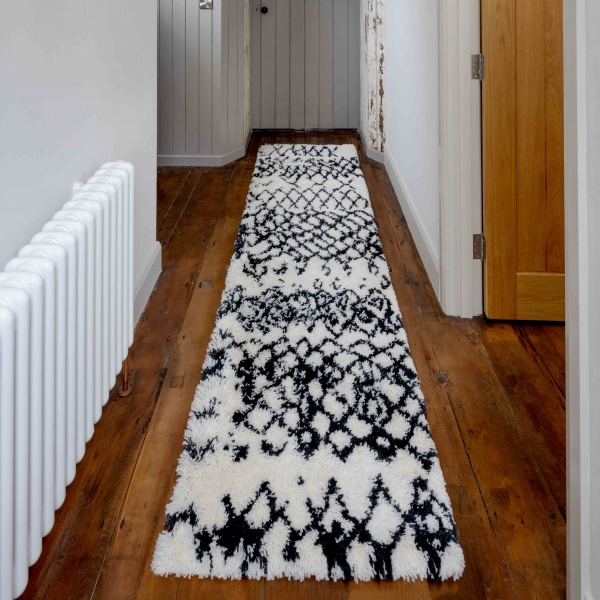 Soft Berber Moroccan Distressed Shaggy Hall Runner Rugs - Nivala