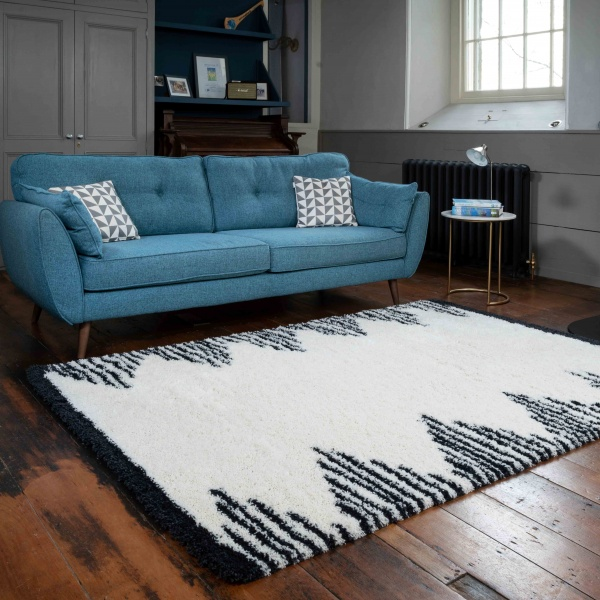 Soft Scandi Berber Moroccan Tribal Shaggy Living Room Rugs - Nivala