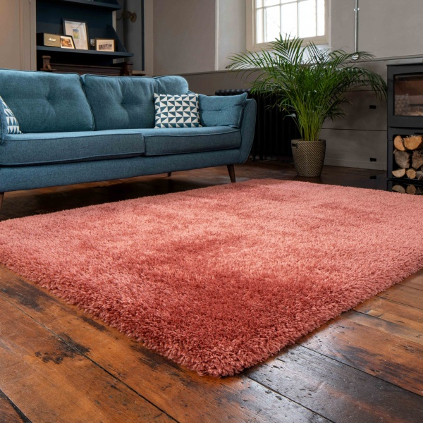 Deluxe Thick Soft Terracotta Shaggy Bedroom Rug - Whistler